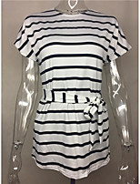 Women's Going out Cute Sexy T-shirt,Striped Halter Short Sleeves Cotton