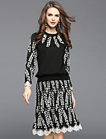 Women's Daily Going out Street chic Fall Blouse Skirt Suits,Embroidered Round Neck Long Sleeve Lace Polyester Spandex Inelastic