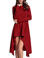 Women's Daily Plus Size Sheath Dress,Solid Hooded Asymmetrical Long Sleeves Polyester Spring Fall Mid Rise Micro-elastic Medium