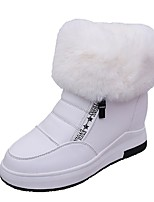 Women's Shoes PU Fall Comfort Boots Flat Heel Round Toe Zipper For Casual Green Black White