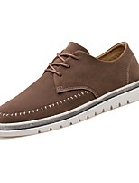 Men's Shoes Leather Spring Fall Comfort Sneakers Lace-up For Casual Brown Gray Black
