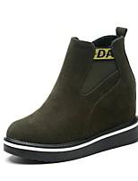 Для женщин Обувь Замша Осень Армейские ботинки Ботинки На толстом каблуке Круглый носок Молнии Назначение Повседневные Черный
