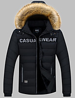 Men's Regular Padded Coat,Simple Plus Size Casual/Daily Solid-Cotton Acrylic Polyester Polyester Long Sleeves