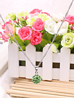 Women's Pendant Necklaces Round Rhinestone Alloy Cute Style Jewelry For Party Gift