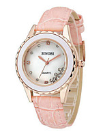 Women's Fashion Watch Quartz Water Resistant / Water Proof PU Band Sparkle White Red Pink