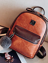 Women Bags All Seasons PU Backpack Zipper for Casual Outdoor Brown Black Gray Red Khaki