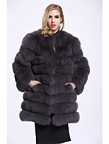 BF-Fur Style Women's Casual/Daily Sophisticated Fall Winter Fur Coat,Solid Round Neck Long Sleeve Long Fox Fur