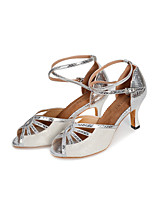 Women's Latin Glitter Leatherette Heel Indoor Splicing High Heel Gold Black Silver 2
