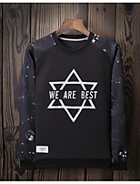 Men's Going out Sweatshirt Print Color Block Round Neck Micro-elastic Others Long Sleeve Spring Fall