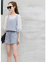 Women's Going out Street chic Summer T-shirt Pant Suits,Solid Round Neck Short Sleeve Backless Cotton Inelastic