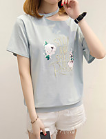 Women's Daily Casual T-shirt,Floral Embroidery Round Neck Short Sleeves Cotton