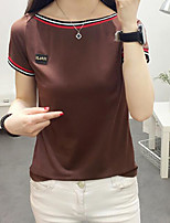 Women's Daily Going out Casual Summer T-shirt,Solid Round Neck Short Sleeves Cotton Spandex Medium