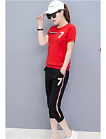 Women's Going out Street chic Summer T-shirt Pant Suits,Solid Striped Round Neck Long Sleeve Backless Micro-elastic