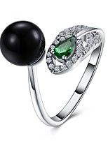 Men's Band Rings Cubic Zirconia Imitation Pearl Fashion Open Zircon Silver Plated Circle Jewelry For Party Engagement Daily Casual Office