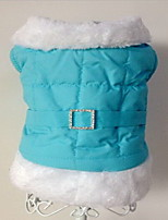 Dog Coat Dog Clothes Keep Warm Solid Blue Pink Costume For Pets