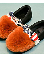 Girls' Shoes Real Leather Fall Winter Comfort Loafers & Slip-Ons For Casual Army Green Orange Black