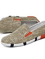 Для мужчин обувь Лён Лето Мокасины Мокасины и Свитер Назначение Повседневные Серый Синий Хаки