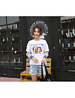 Women's Going out Vintage Street chic T-shirt,Color Block Round Neck Long Sleeves Cotton