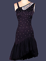 Shall We Latin Dance Women's Performance Spandex Crystals/Rhinestones Sleeveless Natural Dress