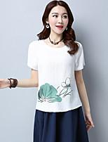 Tee-shirt Femme,Fleur Décontracté / Quotidien simple Manches Courtes Col Arrondi Coton Lin