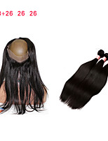 cheap -Malaysian Virgin Hair With Closure 360 Lace Frontal With Bundle Straight Human Hair With Closure Peruvian Lace Hair Closure