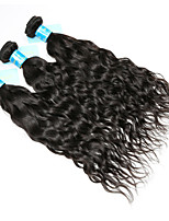 Human Hair Brazilian Natural Color Hair Weaves Water Wave Hair Extensions 3 Pieces Black