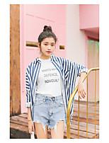 Camicia Da donna Per uscire Semplice A strisce Colletto alla coreana Cotone Manica lunga