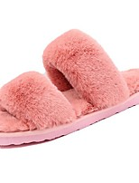 Women's Shoes Flocking PU Fall Comfort Slippers & Flip-Flops Round Toe For Casual Blushing Pink Gray Black