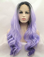 Women Synthetic Wig Lace Front Medium Length Long Curly Wavy Natural Wave Loose Wave Body Wave Deep Wave Water Wave Purple Ombre Hair