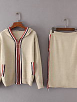 Women's Going out Casual/Daily Simple Spring Fall Hoodie Skirt Suits,Color Block Hooded Long Sleeve Micro-elastic