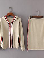 Damen Einfarbig Einfach Ausgehen Lässig/Alltäglich Rock Anzüge Frühling Herbst Lange Ärmel Mikro-elastisch
