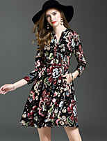 YHSP Women's Going out Casual/Daily Dresses A Line Sheath Swing DressFloral V Neck Above Knee Long Sleeves Polyester Fall Mid Rise Inelastic