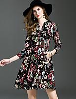 Trapèze Gaine Balançoire Robe Femme Sortie Décontracté / Quotidien Robes,Fleur Col en V Au dessus du genou Manches Longues Polyester