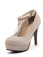 Femme Chaussures Similicuir Printemps Automne Confort Chaussures à Talons Talon Aiguille Bout rond Boucle Pour Mariage Habillé Or Noir