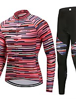 Cycling Jersey with Tights Unisex Long Sleeves Bike Clothing Suits Fast Dry Stripe Winter Cycling/Bike Peach