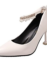 Women's Shoes PU Fall Winter Comfort Heels Stiletto Heel Pointed Toe Buckle For Casual Red Beige Black