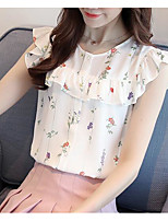 Women's Daily Casual T-shirt,Solid Print Round Neck Short Sleeves Cotton Polyester
