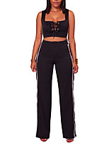Women's Sports Plus Size Casual Street chic Summer Fall Tank Top Pant SuitsSolid Color Sexy Round Neck Sleeveless Split Micro-elastic