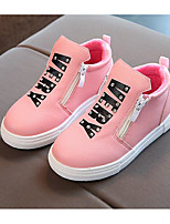 Girls' Shoes Real Leather Fall Winter Comfort Combat Boots Boots For Casual Blushing Pink Red Black