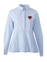 Women's Daily Work Vintage Street chic Spring Fall Shirt,Embroidery Shirt Collar Long Sleeves Polyester Medium