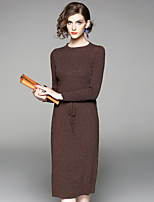 Women's Daily Going out Street chic Sheath Dress,Solid Round Neck Midi Long Sleeves Polyester Fall Mid Rise Inelastic Medium