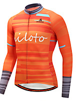 Miloto Cycling Jersey Men's Long Sleeves Bike Jersey Stretchy Autumn/Fall Winter Cycling Orange