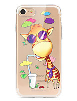 cheap -Case For Apple iPhone X iPhone 8 iPhone 8 Plus Ultra-thin Transparent Pattern Back Cover Cartoon Animal Soft TPU for iPhone X iPhone 8