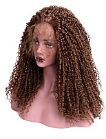 Women Synthetic Wig Lace Front Long Kinky Curly Chestnut Brown With Baby Hair Halloween Wig Long Natural Wigs Costume Wig