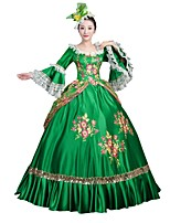 Victorian Rococo Female Adults' Party Costume Masquerade Green Cosplay Satin Long Sleeves Floor Length