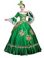 Victorien Rococo Féminin Adulte Costume de Soirée Bal Masqué Vert Cosplay Manches Longues Longueur Sol