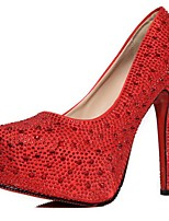 Women's Shoes Nubuck leather PU Winter Basic Pump Wedding Shoes Stiletto Heel For Casual Red Silver
