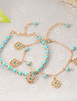 Women's Anklet/Bracelet Turquoise Alloy Fashion Bohemian Circle Flower Jewelry For Casual Formal
