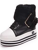 Feminino Sapatos Couro Ecológico Inverno Botas da Moda Botas Rasteiro Anabela Ponta Redonda Ziper Cadarço Para Casual Social Branco Preto