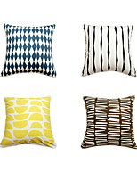 4 pcs Cotton Pillow Case Bed Pillow Travel Pillow Sofa Cushion Pillow Cover,Geometric Art Deco Artistic Style Classic Style Modern Style
